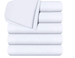 Bed Flat Sheets -  - Soft Brushed Microfiber Fabric - Shrinkage & Fade Resistant Top Sheets/ (Twin, White/Pack of 6)
