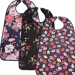 "BIB, ADULT, 3 Pack  Washable Reusable Waterproof  with Optional Crumb Catcher 18"" x 36"""